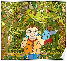 Children's play in forest Poster