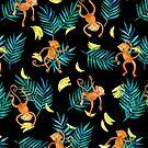 Tropical Monkey Banana Bonanza on Black by micklyn