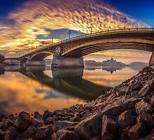 Between sky and water at the Margaret bridge in Budapest by Zoltán Duray