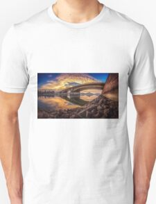 Between sky and water at the Margaret bridge in Budapest T-Shirt