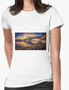 Between sky and water at the Margaret bridge in Budapest Womens Fitted T-Shirt