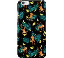 Tropical Monkey Banana Bonanza on Black iPhone Case/Skin