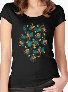 Tropical Monkey Banana Bonanza on Black Women's Fitted Scoop T-Shirt