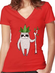King of Sloth Women's Fitted V-Neck T-Shirt