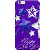 Blue and Purple Happy New Year Shooting Stars  iPhone Case/Skin