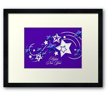 Blue and Purple Happy New Year Shooting Stars  Framed Print