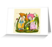 Children Play Grass Greeting Card