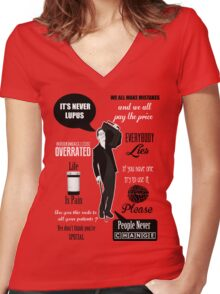 Dr House Montage  Women's Fitted V-Neck T-Shirt