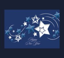 Teal and Blue Happy New Year Shooting Stars One Piece - Long Sleeve