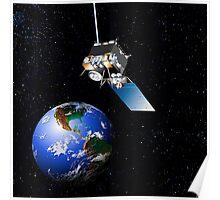 The GOES-N spacecraft in orbit.  Poster