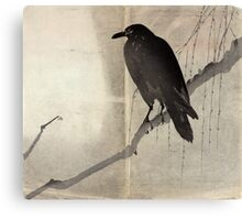 Crow On A Willow Branch - anon - c1880 Canvas Print