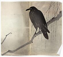 Crow On A Willow Branch - anon - c1880 Poster