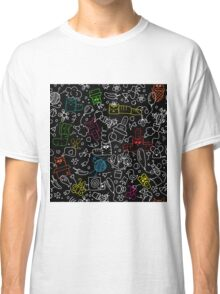 Pattern with funny doodle cats Classic T-Shirt