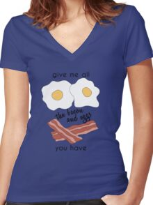 bacon and eggs Women's Fitted V-Neck T-Shirt