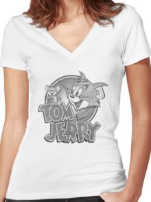 Tom and Jerry Women's Fitted V-Neck T-Shirt