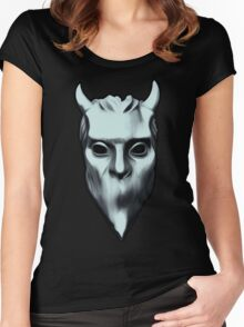 NAMELESS GHOUL - silver oil paint Women's Fitted Scoop T-Shirt