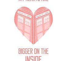 My Hearts are Bigger on the Inside Red by NerdCat