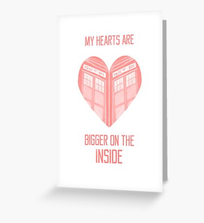 My Hearts are Bigger on the Inside Red Greeting Card