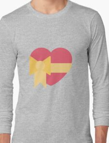 Pink heart with ribbon emoji Long Sleeve T-Shirt
