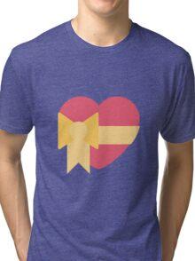 Pink heart with ribbon emoji Tri-blend T-Shirt