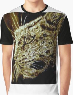 The Hunt-Snow Leopard Eyes Prey Graphic T-Shirt