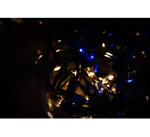 Blue And white Fairy Lights Photographic Print