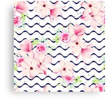 Cute spring flowers and navy ribbon waves seamless vector print. Speckled backdrop.  Canvas Print