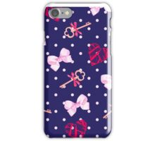 Navy keys from valentines heart and pink satin bows seamless vector pattern. Polka dot backdrop. iPhone Case/Skin