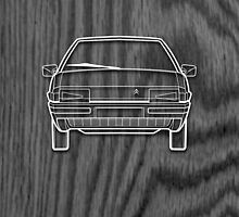 Citroen BX Outline Drawing on Black Oak by RJWautographics