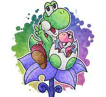 Yoshi and Baby Yoshi by likelikes