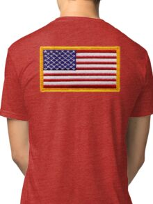 American, ARMY, Flag, Embroidered, Stars and Stripes, USA, United States, America, Military Badge Tri-blend T-Shirt