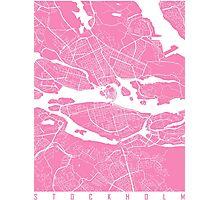 Stockholm map pink Photographic Print