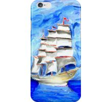 'Ship of Serenity' - Watercolor Sailing Ship on the Calm Seas iPhone Case/Skin