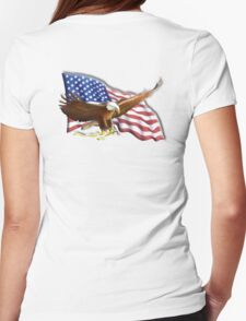 AMERICAN, PATRIOT, independence, Eagle, War, Flag, America, Bald Eagle, USA, Bird of Prey Womens Fitted T-Shirt