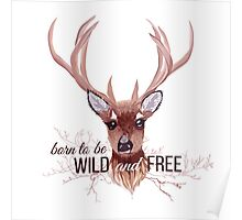Deer and bare branches vector design object. Poster