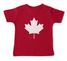 MAPLE LEAF, CANADA, CANADIAN, WHITE, Pure & Simple, Canadian Flag, National Flag of Canada, 'A Mari Usque Ad Mare', White on Red Baby Tee
