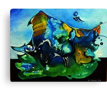 blue, green and orange scenery Canvas Print