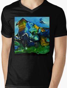 blue, green and orange scenery Mens V-Neck T-Shirt