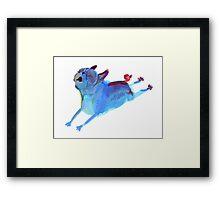 Blue Leaper Framed Print