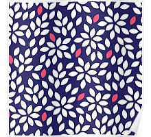 Seeds in blue and white colors abstract seamless pattern Poster