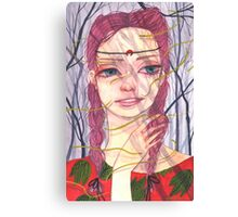 Lady With Pink Braids Canvas Print