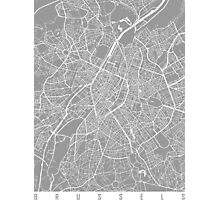 Brussels map grey Photographic Print