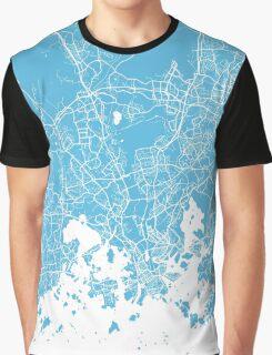 Helsinki map blue Graphic T-Shirt