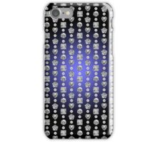 Diamond Mosaic 1 - Digital illustration of original hand rendered precious stones. Blue gradient on black background. iPhone Case/Skin