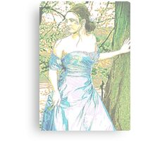 'Prom' - Girl in Shiny Sky Blue Dress Canvas Print