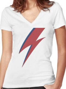 David Bowie's Face Bolt Women's Fitted V-Neck T-Shirt