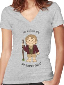 Bilbo Baggins going on an adventure! Women's Fitted V-Neck T-Shirt