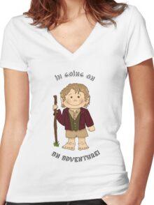 Bilbo Baggins going on an adventure! Women's Fitted V-Neck T-Shirt