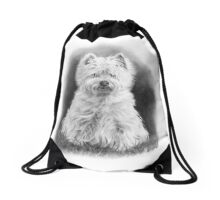West Highland White Terrier, Westie Dog, Pencil Drawing Drawstring Bag