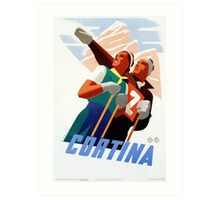 Cortina Vintage Italian travel ski winter sport Art Print